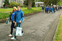 Students walk down Main Mall at the UBC Vancouver campus